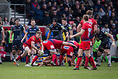 24th March 2018, AJ Bell Stadium, Salford, England; Aviva Premiership rugby, Sale Sharks versus Worcester Warriors; Michael Dowsett of Worcester Warriors passes the ball