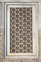 "Agra, India.   Geometric Window Design,  Itimad-ud-Dawlah, Mausoleum of Mirza Ghiyas Beg.  The tomb is sometimes referred to as the ""Baby Taj."""