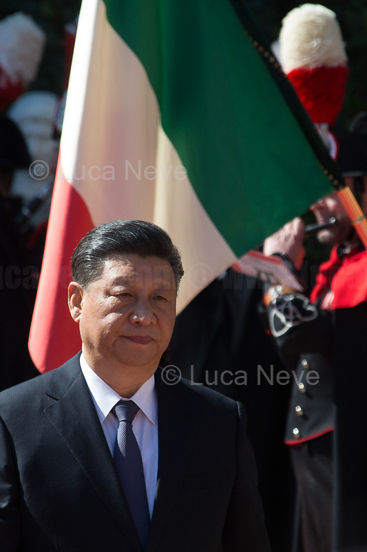 "Rome, 23/03/2019. The President of the People's Republic of China (General Secretary of the Communist Party of China, and Chairman of the Central Military Commission), Xi Jinping, meets the Italian Prime Minister Giuseppe Conte at Villa Madama during the second day of a three-day State visit to Italy. After the arrival of Xi Jinping greeted with the full honors at the splendid Renaissance Villa designed by Raffaello Sanzio, the Chinese delegation and the Italian delegation led by the Luigi Di Maio (Deputy Prime Minister, Minister of Economic development, Labour and Social Policies, and leader of the Five Star Movement) signed a memorandum of understanding - 29 separate protocols - supporting the ""Belt and Road"" initiative (part of the ""New Silk Road Project"") as the first of the Seven major economies in the world. Luigi Di Maio stated that ""the value of individual deals signed amounts to about 2,5 billion euros, with the potential to grow to about 20 billion euros""."
