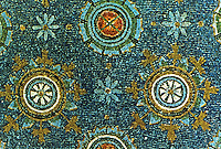 Ravenna: Mosaic--details of the mosaics of the vault. Mausoleum of Galla Placidia, 5th century.