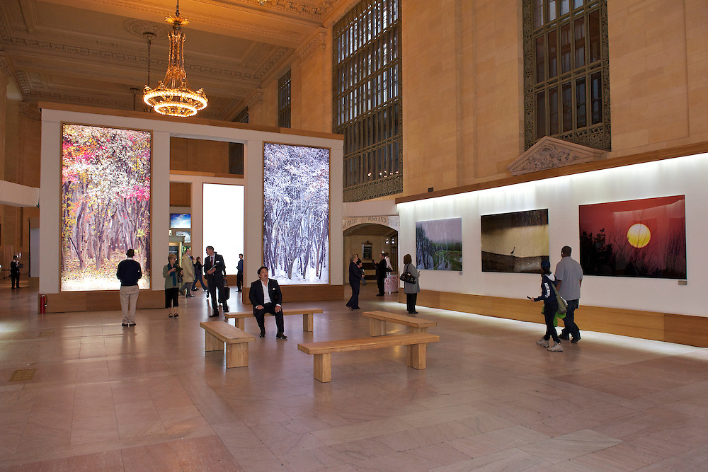 Ahae photo exhibition installed by Duggal Visual Solutions at Vanderbilt Hall, Grand Central Station