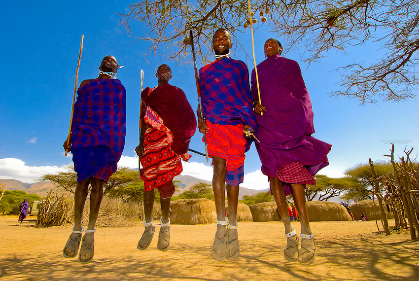 Maasai tribe men doing Adumu (Traditional Jumping Dance), Manyatta village, Ngorongoro Conservation Area, Tanzania