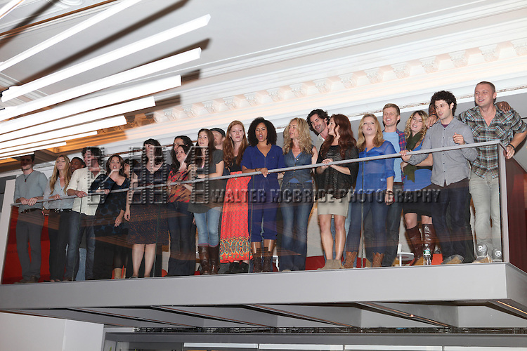 The Cast of 'HAIR' attending the Unveiling of the Revitalized Public Theater at Astor Place in New York City on 10/4/2012.