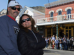 Larry and Yolanda Harris during the World Championship Outhouse Races in Virginia City, Nevada on Sunday, Oct. 8, 2017.