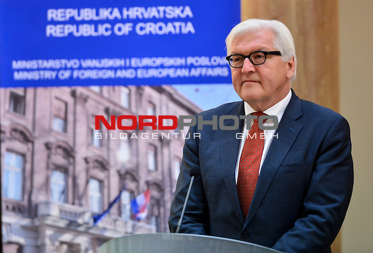 30.04.2015., Zagreb, Croatia - German Foreign Minister Frank Walter Steinmeier during his visit to Croatia met with Minister of Foreign and European Affairs Vesna Pusic. <br /> <br /> Foto &copy;  nph / PIXSELL / Marko Prpic
