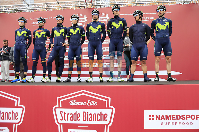 Movistar Team at sign on before the start of the 2017 Strade Bianche running 175km from Siena to Siena, Tuscany, Italy 4th March 2017.<br /> Picture: Eoin Clarke | Newsfile<br /> <br /> <br /> All photos usage must carry mandatory copyright credit (&copy; Newsfile | Eoin Clarke)