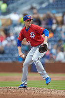 Buffalo Bison relief pitcher Jake Petricka (52) in action against the Durham Bulls at Durham Bulls Athletic Park on April 25, 2018 in Allentown, Pennsylvania.  The Bison defeated the Bulls 5-2.  (Brian Westerholt/Four Seam Images)