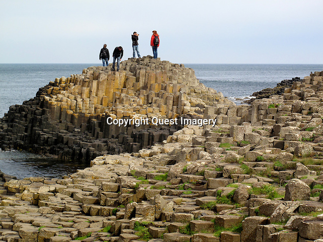 The Giant's Causeway is an area of about 40,000 interlocking basalt columns, the result of an ancient volcanic eruption. It is located in County Antrim on the northeast coast of Northern Ireland, about three miles northeast of the town of Bushmills. <br /> Photo by Deirdre Hamill/Quest Imagery