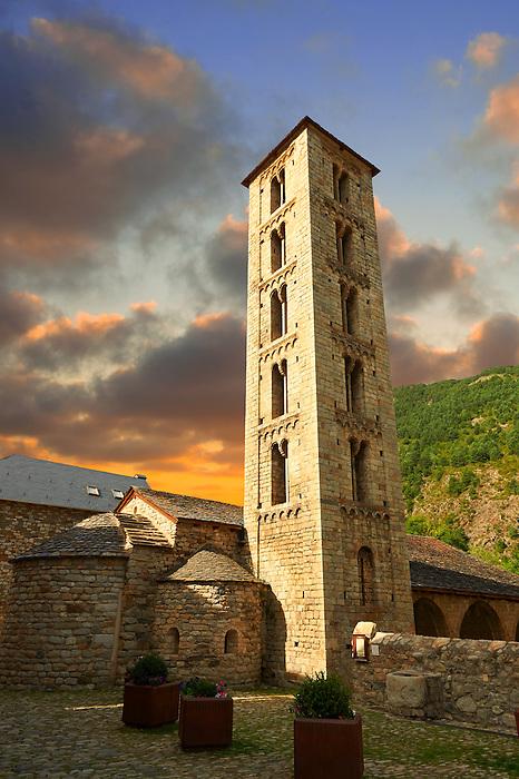 Romanesque chuch of Saint Eulalia, D'Erill La Val, Val de Boi, Alta Ribagorca, Pyranese, Spain. A UNESCO World Heritage Site