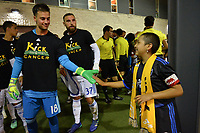 San Jose, CA - Wednesday September 19, 2018: JT Marcinkowski, Kick Childhood Cancer prior to a Major League Soccer (MLS) match between the San Jose Earthquakes and Atlanta United FC at Avaya Stadium.