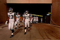 Nov. 6, 2005; Tempe, AZ, USA; Cornerback (23) Marcus Trufant and cornerback (27) Jordan Babineaux of the Seattle Seahawks lead their team out of the tunnel against the Arizona Cardinals at Sun Devil Stadium. Mandatory Credit: Mark J. Rebilas