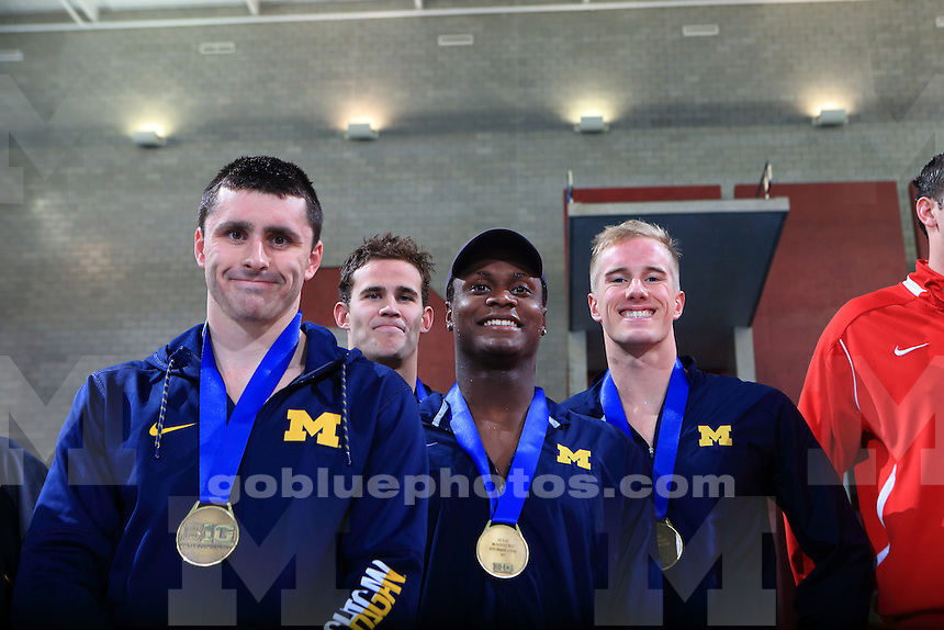 The University of Michigan men's swimming and diving team win the 2017 men's Big Ten Championships at the Ohio State University. February 24, 2017.<br /> (Photo by Walt Middleton Photography 2017)