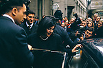 Monica Lewinsky, fans wait outside a bookshop where she is due to sign copies of her book Monica's Story, 1999 London UK London.