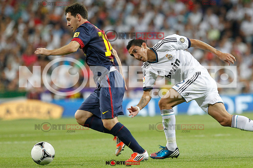 Real Madrid's Angel di Maria and F.C. Barcelona's Lionel Messi during Spanish Supercup 2nd match on august 29 2012...Photo: Alex Cid-Fuentes / ALFAQUI /NortePhoto.com<br /> <br /> **CREDITO*OBLIGATORIO** <br /> *No*Venta*A*Terceros*<br /> *No*Sale*So*third*<br /> *** No*Se*Permite*Hacer*Archivo**<br /> *No*Sale*So*third*