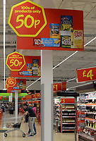 Asda supermarket in Cardiff, UK.  In 1999, Asda became a subsidiary of the American retail company Walmart and today is the UK's second largest chain by market share after Tesco.   13-Sept-2013