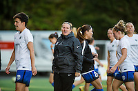 Seattle, Washington -  Sunday, September 11 2016: Seattle Reign FC head coach Laura Harvey directs her players prior to a regular season National Women's Soccer League (NWSL) match between the Seattle Reign FC and the Washington Spirit at Memorial Stadium. Seattle won 2-0.