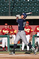 Jonathan Munoz #15 of the UC Irvine Anteaters bats against the Southern California Trojans at Dedeaux Field on April 29, 2014 in Los Angeles, California. Stanford defeated Southern California, 6-2. (Larry Goren/Four Seam Images)