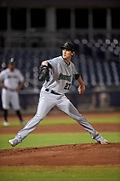 Surprise Saguaros starting pitcher Daniel Lynch (27), of the Kansas City Royals organization, during an Arizona Fall League game against the Peoria Javelinas on September 22, 2019 at Peoria Sports Complex in Peoria, Arizona. Surprise defeated Peoria 2-1. (Zachary Lucy/Four Seam Images)