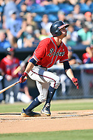Rome Braves Braden Shewmake (39) follows through on his swing during a game against the Asheville Tourists at McCormick Field on July 20, 2019 in Asheville, North Carolina. The Tourists defeated the Braves 3-2. (Tony Farlow/Four Seam Images)