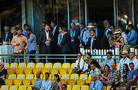 Fans watch the ICC Cricket World Cup one day pool match between the New Zealand Black Caps and England at Wellington Regional Stadium, Wellington, New Zealand on Friday, 20 February 2015. Photo: Dave Lintott / lintottphoto.co.nz