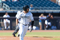 Peoria Javelinas third baseman Hudson Potts (13), of the San Diego Padres organization, hustles down the first base line during an Arizona Fall League game against the Scottsdale Scorpions at Peoria Sports Complex on October 18, 2018 in Peoria, Arizona. Scottsdale defeated Peoria 8-0. (Zachary Lucy/Four Seam Images)