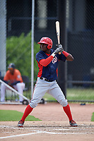 GCL Nationals center fielder Caldioli Sanfler (9) at bat during a game against the GCL Astros on August 6, 2018 at FITTEAM Ballpark of the Palm Beaches in West Palm Beach, Florida.  GCL Astros defeated GCL Nationals 3-0.  (Mike Janes/Four Seam Images)