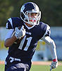 Max Napoli #11 of Northport races downfield during a Suffolk County Division I varsity football game against Patchogue-Medford at Half Hollow Hills East High School in Dix Hills on Sunday, Oct. 1, 2017. Northport won by a score of 35-19.