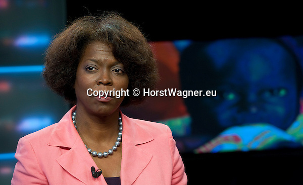 Brussels-Belgium, May 11, 2012 -- Ertharin COUSIN, Executive Director of the United Nations World Food Programme (WFP - PAM) at a TV studio -- Photo: © HorstWagner.eu