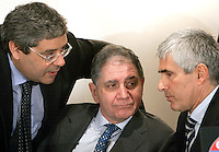 Il leader dell'Udc Pierferdinando Casini, a destra, parla col presidente Rocco Buttiglione, al centro, e col vicesegretario Salvatore Cuffaro durante la Direzione Nazionale del partito a Roma, 14 febbraio 2008..Udc center-right caholic party's leader Pierferdinando Casini, right, talks to president Rocco Buttiglione, center, and deputy secretary Salvatore Cuffaro, during the National Direction of the party in Rome, 14 february 2008..UPDATE IMAGES PRESS/Riccardo De Luca