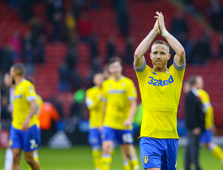 Leeds United's Adam Forshaw applauds the fans after the match<br /> <br /> Photographer Alex Dodd/CameraSport<br /> <br /> The EFL Sky Bet Championship - Sheffield United v Leeds United - Saturday 1st December 2018 - Bramall Lane - Sheffield<br /> <br /> World Copyright © 2018 CameraSport. All rights reserved. 43 Linden Ave. Countesthorpe. Leicester. England. LE8 5PG - Tel: +44 (0) 116 277 4147 - admin@camerasport.com - www.camerasport.com