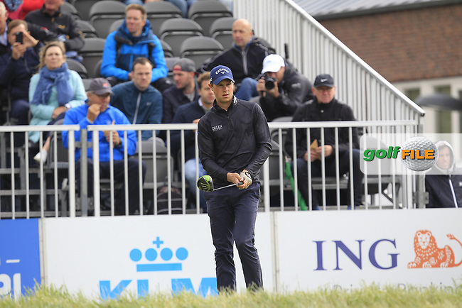 Thomas Detry (BEL) on the 1st tee during Round 1 of the KLM Open 2017 at the Dutch in the Netherlands. 14/09/2017<br /> Picture: Golffile | Thos Caffrey<br /> <br /> <br /> All photo usage must carry mandatory copyright credit     (&copy; Golffile | Thos Caffrey)