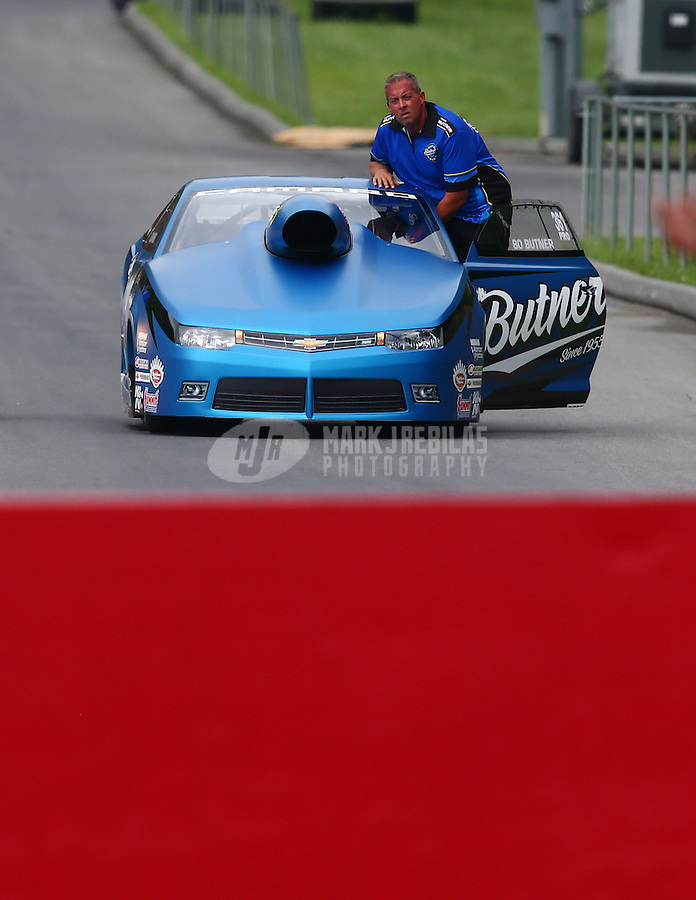 Jun 20, 2015; Bristol, TN, USA; NHRA pro stock driver Bo Butner on the return road during qualifying for the Thunder Valley Nationals at Bristol Dragway. Mandatory Credit: Mark J. Rebilas-
