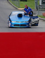 Jun 20, 2015; Bristol, TN, USA; NHRA pro stock driver Bo Butner on the return road during qualifying for the Thunder Valley Nationals at Bristol Dragway. Mandatory Credit: Mark J. Rebilas-