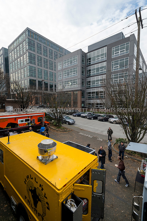 1/22/2013--SEATTLE, WA, USA..Food carts in South Lake Union with new Amazon properties behind...©2012 Stuart Isett. All rights reserved.