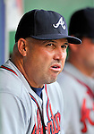 24 September 2011: Atlanta Braves Manager Fredi Gonzalez watches from the dugout during game action against the Washington Nationals at Nationals Park in Washington, DC. The Nationals defeated the Braves 4-1 to even up their 3-game series. Mandatory Credit: Ed Wolfstein Photo