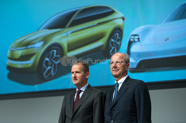 03 May 2018, Germany, Berlin: Herbert Diess (L), the new CEO of Volkswagen AG, and Hans Dieter Poetsch, chairman of the supervisory board, on stage at the Volkswagen AG annual general meeting at the Messegelaende in Berlin. Photo: Bernd von Jutrczenka/dpa /MediaPunch ***FOR USA ONLY***