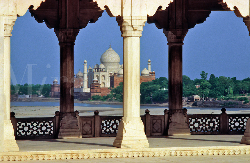 India. The Taj Mahal, Agra, Uttar Pradesh.  The Taj Mahal built between 1631 and 1648, Shah Jahan's monument to Mumtaz Mahal, his favorite/favourite wife. Seen from the Red Fort..