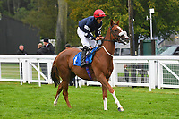 Crystal Casque ridden by Oliver Searle goes down to the start  of The Shadwell Racing Excellence Apprentice Handicap Div 2  during Horse Racing at Salisbury Racecourse on 14th August 2019