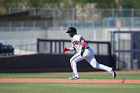 Peoria Javelinas right fielder Ronald Acuna (34), of the Atlanta Braves organization, hustles towards third base during a game against the Scottsdale Scorpions on October 19, 2017 at Peoria Stadium in Peoria, Arizona. The Scorpions defeated the Javelinas 13-7.  (Zachary Lucy/Four Seam Images)