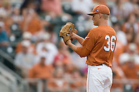 Texas Longhorns pitcher Nathan Thornhill #36 looks in for a sign against the Texas A&M Aggies in NCAA Big XII Conference baseball on May 21, 2011 at Disch Falk Field in Austin, Texas. (Photo by Andrew Woolley / Four Seam Images)