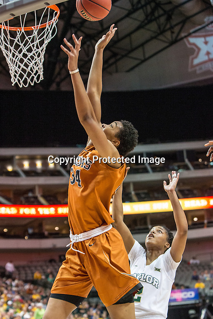 center Imani McGee-Stafford (34) in action during Big 12 women's basketball championship final, Sunday, March 08, 2015 in Dallas, Tex. (Dan Wozniak/TFV Media via AP Images)