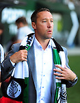 Jun 6, 2015; Portland, OR, USA; Portland Timbers head coach Caleb Porter walks out onto the pitch for the game against the New England Revolution at Providence Park. Mandatory Credit: Steve Dykes-USA TODAY Sports