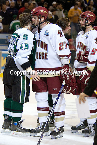 Chris Mueller (Michigan State - West Seneca, NY), Andrew Orpik (Boston College - East Amherst, NY), Mike Ratchuk (Michigan State - Buffalo, NY), Tim Filangieri (Boston College - Islip Terrace, NY) - The Michigan State Spartans defeated the Boston College Eagles 3-1 (EN) to win the national championship in the final game of the 2007 Frozen Four at the Scottrade Center in St. Louis, Missouri on Saturday, April 7, 2007.