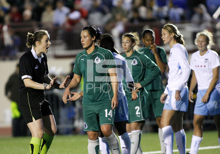 Referee Margaret Domka tells Melissa Tancredi to calm down..Saint Louis Athletica were defeated 1-0 by Chicago Red Stars in which was both teams inaugural game, played at Korte Stadium, Edwardsville, Illinois on April 4, 2009.