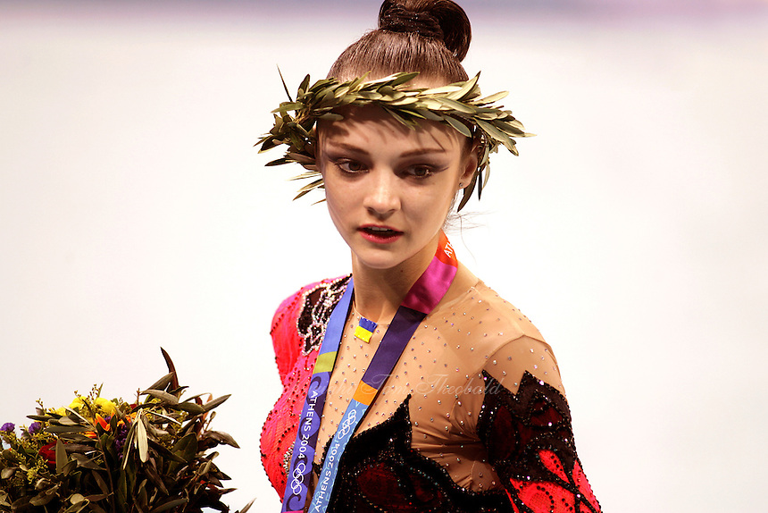 August 29, 2004; Athens, Greece; Rhythmic gymnastics star ANNA BESSONOVA of Ukraine wins bronze in All-Around at 2004 Athens Olympics.<br />