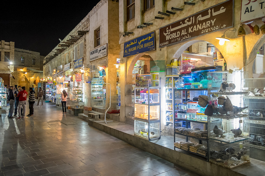 DOHA, QATAR - CIRCA DECEMBER 2013: Typical stores in the Souq Waqif. This is a popular and traditional market bazaar in Doha.