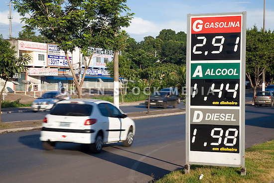 A fuel price list for gas, ethanol and diesel at roadside. Cuiaba, Mato Grosso, Brazil.