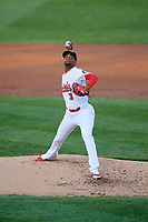 Peoria Chiefs relief pitcher Ronnie Williams (3) delivers a pitch during a game against the West Michigan Whitecaps on May 8, 2017 at Dozer Park in Peoria, Illinois.  West Michigan defeated Peoria 7-2.  (Mike Janes/Four Seam Images)
