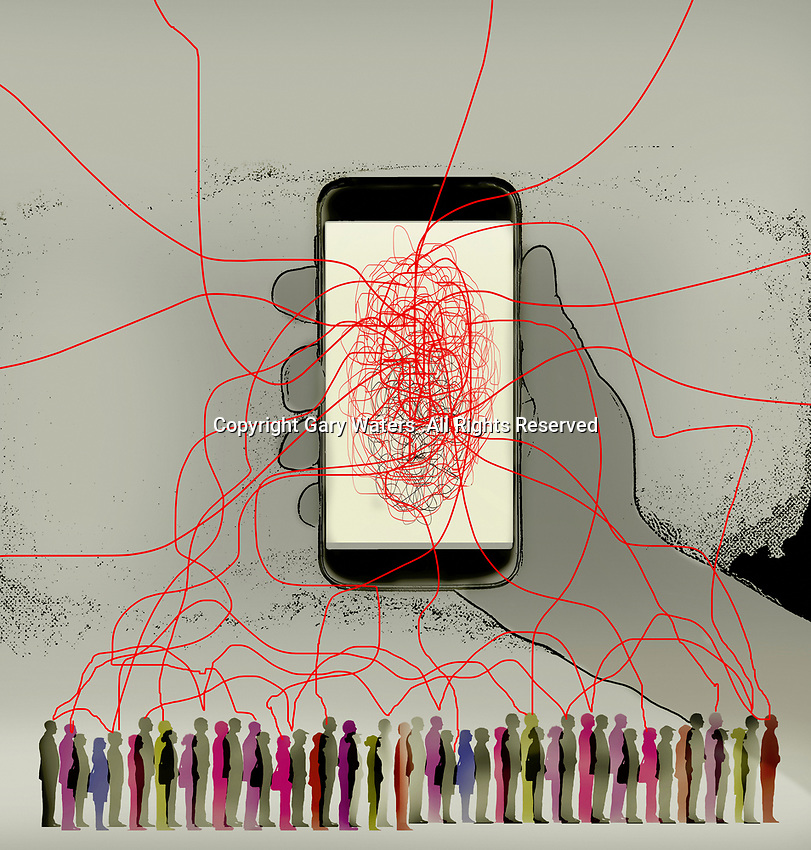 Tangled lines connecting smart phone to lots of people