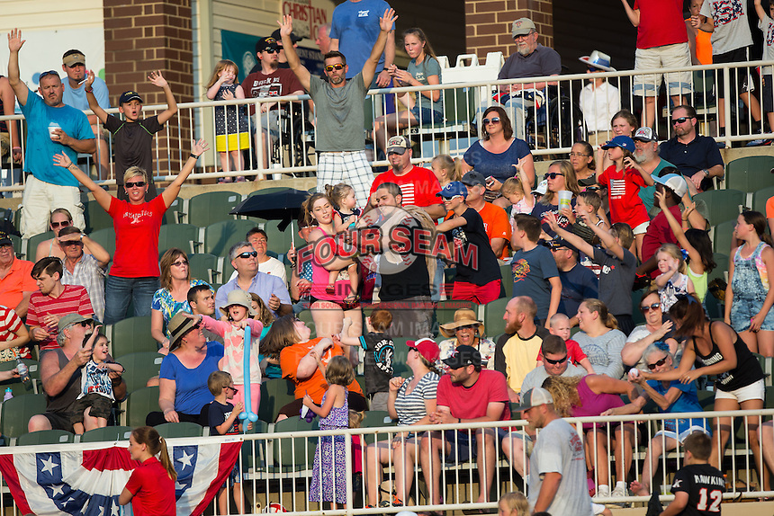 A crowd of 5,219 was on hand for the South Atlantic League game between the Hagerstown Suns and the Kannapolis Intimidators at Kannapolis Intimidators Stadium on July 4, 2016 in Kannapolis, North Carolina.  The Intimidators defeated the Suns 8-2.  (Brian Westerholt/Four Seam Images)